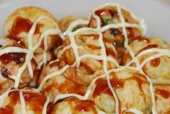 Takoyaki (de ballen van de Octopus) stock fotografie