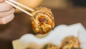 Takoyaki, delicious Japanese style octopus pancake, Royalty Free Stock Photography
