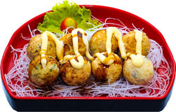 Takoyaki. The Isolation japanese traditonal food in the decorated container stock photo