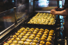 Takoyaki most popular delicious snack of japan. Cooking takoyaki most popular delicious snack of japan Royalty Free Stock Photography