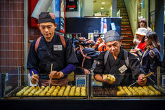Takoyaki restaurant at Dotonbori in Oskak Royalty Free Stock Photos