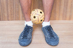 Takraw ball sport of Thailand. Royalty Free Stock Photography