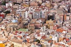 Taksikt av arkitekturen i Alicante Royaltyfri Fotografi
