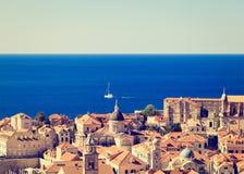 Taksikt av den gamla staden i Dubrovnik, Kroatien Royaltyfri Bild