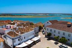 Taksikt av kusten för Faro Portugal ` s Algarve royaltyfria foton