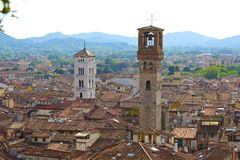 Taksikt av Lucca, Italien arkivfoton