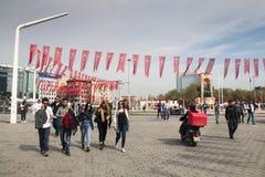 Taksim fyrkant i Istanbul, Turkiet Arkivfoto