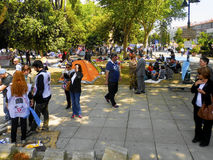 Taksim Gezi Park guarding the protesters set up tents Royalty Free Stock Photography