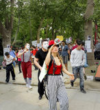Taksim Gezi Park protest the animators and clown show. Stock Images