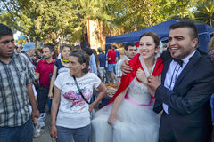 Taksim Gezi Park protests and Events. Newly married couple in th Stock Images