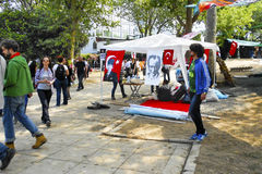 Taksim Gezi Park protests and Events. Turkish leader Ataturk ten. Istanbul, Turkey - June 5, 2013: Turkish leader Ataturk tent Royalty Free Stock Images