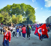 Taksim Gezi parkerar protester och händelser Det har startat handlingagai arkivbild