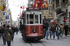 Taksim Istanbul tram. The tram of Taksim in Istanbul that travels Istiklal Caddesi https://www.dreamstime.com/earning_det.php?imageid=12713653 Royalty Free Stock Images