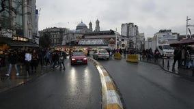 Taksim Istiklal Square in Istanbul, Turkey. December 30, 2017.  stock footage