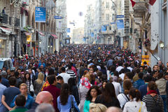 Taksim Istiklal Street. On April 07, 2012 in Istanbul, Turkey.  is popular destination in Istanbul Royalty Free Stock Photography