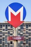 Taksim Metro Entrance Sign, Istanbul, Turkey Stock Photos