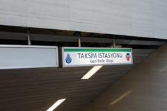 Taksim-Metro unterzeichnen herein Ä°stanbul die Türkei am 18. September 2017 Lizenzfreies Stockfoto
