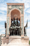 Taksim Monument in Beyoglu Istanbul Turkey. The monument Taksim, a brick gateway with bronze turkish troups in Beyoglu, Istanbul, Turkey Stock Images