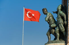 Taksim Monument of the Turkish Republic. Taksim Monument of the Republic from Istanbul Royalty Free Stock Photography