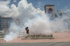 Taksim Park Protest. ISTANBUL,TURKEY-MAY 31: Police forces attacked Taksim Gezi Park protesters with tear gas and water cannons as protests continue for a fourth Royalty Free Stock Photos