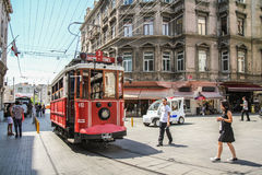 Taksim quarter. In Taksim quarter in Istanbul, you can do some shopping, eat in good restaurants and take old little tramway Stock Images