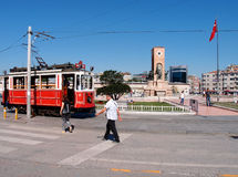 Taksim square. Famous monument together with the well known nostalgic tram in Istanbul Taksim square, Turkey Stock Images