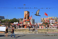 Taksim Square with pigeons Royalty Free Stock Photography