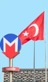 Taksim station and turkish flag,Istanbul Stock Image