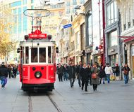 Taksim-Tunel Nostalgia Tramway, Istanbul, Turkey. Heritage trams of a Taksim-Tunel Nostalgia Tramway line operates on Istiklal Street between Taksim Square and stock photography
