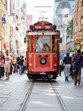 Taksim-Tunel tram. Runs along Istiklal street on July 06, 2010 in Istanbul Royalty Free Stock Photo