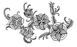 Takslinger van mooie bloemen grafische illustratie stock illustratie