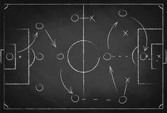 Taktisk intrig för fotboll på den svart tavlan Fotbollslagstrategi för leken Hand dragen bakgrund för fotbollfält stock illustrationer