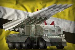 Taktisk shortrange ballistisk missil med arktisk kamouflage på den bruneiska nationsflaggabakgrunden illustration 3d vektor illustrationer