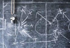 Taktiskt diagram för fotboll eller för fotboll, vissling av lagledaren Royaltyfria Bilder