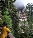 Taktsang修道院老虎巢在不丹 图库摄影