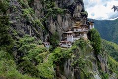 Taktshang修道院在不丹 免版税库存图片