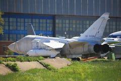 Taktyczna przyfrontowa bombowiec Su-24 na ziemi Fotografia Royalty Free