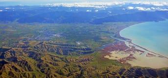 Tal-Antennen-Panorama Blenheim u. Wairau Stockfotos