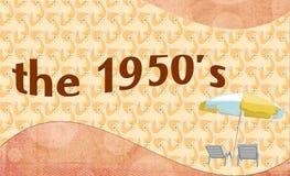 50-tal - banerstilbakgrund med det sommaruteplatsstolar och paraplyet Royaltyfri Foto