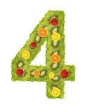 tal för 4 frukt Arkivfoton