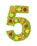 tal för 5 frukt royaltyfria bilder