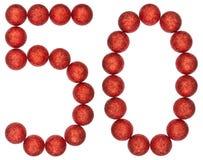 Tal 50, femtio, från dekorativa bollar, isolerade på vitbaksida Royaltyfri Fotografi