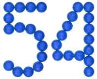 Tal 54, femtiofyra, från dekorativa bollar som isoleras på vit Arkivfoto