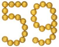 Tal 59, femtionio, från dekorativa bollar som isoleras på vit Royaltyfri Fotografi