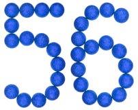 Tal 56, femtiosex, från dekorativa bollar som isoleras på vit Royaltyfria Bilder