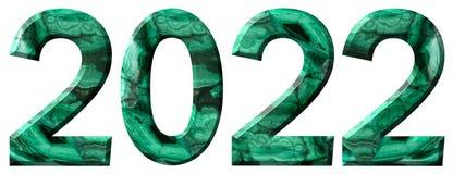Tal 2022 från naturlig grön malakit som isoleras på vit bakgrund royaltyfria foton