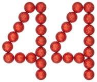 Tal 44, fyrtiofyra, från dekorativa bollar som isoleras på vit Royaltyfri Fotografi