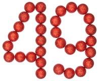 Tal 49, fyrtionio, från dekorativa bollar som isoleras på vit Arkivbilder