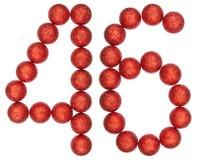 Tal 46, fyrtiosex, från dekorativa bollar som isoleras på vit Royaltyfri Bild