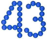 Tal 43, fyrtiotre, från dekorativa bollar som isoleras på whit Royaltyfria Bilder